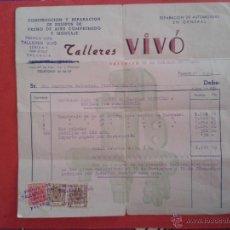 Facturas antiguas: FACTURA. TALLERES VIVÓ. VALÉNCIA. 1960.. Lote 52929045