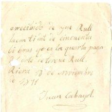 Facturas antiguas: RECIBO DE PAGO. RIERA 1871. Lote 53024729