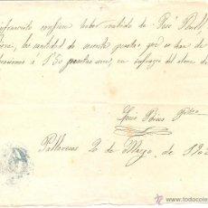 Facturas antiguas: RECIBO DE PAGO. RIERA PALLARESOS (TARRAGONA) 1902. Lote 53024735