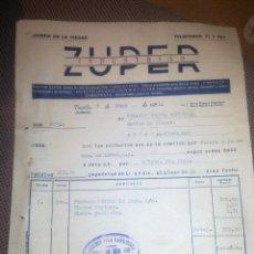 Facturas antiguas: INDUSTRIAS ZUPER -. Lote 53142392