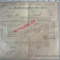 Facturas antiguas: ANTIGUA FACTURA DE LA - PROPAGADORA DEL GAS DE JUNIO DEL 1922 -. Lote 53413293