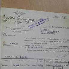 Facturas antiguas: ANTIGUA FACTURA PAPELERA GUIPUZCOANA DE ZICUÑAGA HERNANI 1953. Lote 53347246