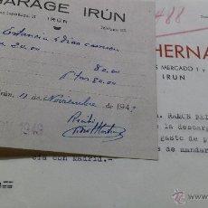 Facturas antiguas: ADUANAS GARAJE ULTRAMARINOS IRUN 1949. Lote 53691301