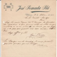 Facturas antiguas: CARTA COMERCIAL DE TINTORERÍA JOSÉ POMADA PLÁ DE ULLDECONA -TARRAGONA- ------1910-------. Lote 53754024