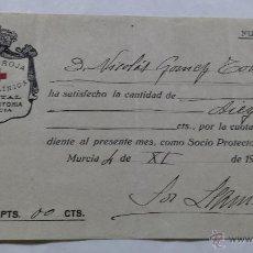 Facturas antiguas: ANTIGUO RECIBO CRUZ ROJA HOSPITAL REINA VICTORIA MURCIA 1927. Lote 53788428