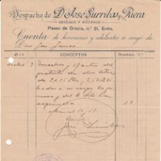 Facturas antiguas: FACTURA DE DESPACHO DE D.JOSÉ SURRIBAS RIERA , NOTARIO DE BARCELONA ----1910-----. Lote 53805502
