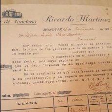 Faturas antigas: 1925, RICARDO MARTINEZ, TALLER DE TONELERIA, MONOVAR, ALICANTE. Lote 53848820