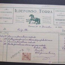 Faturas antigas: CONSTRUCCION DE CARRUAJES / HERRAMIENTAS LABRANZA / ILDEFONSO TORRA / TARRASA - TERRASA 1927. Lote 54081705