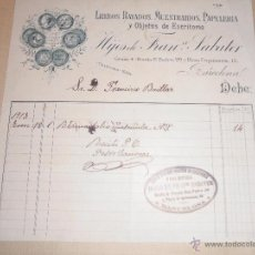 Facturas antiguas: ANTIGUA FACTURA 1913 - IMPRENTA - BARCELONA , HIJOS DE FRANCISCO SABATER , LIBROS RAYADOS , MUESTRAR. Lote 54082465