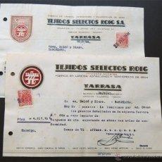 Faturas antigas: FACTURA /TEJIDOS SELECTOS ROIG / FABRICA DE LANERIA - ASTRACAN - TERCIOPELO / TARRASA - TERRASA 1943. Lote 54105078