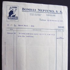 Faturas antigas: FACTURA / BOMBAS NEPTUNO / TARRASA - TERRASA 1927. Lote 54105355