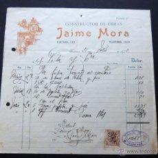 Faturas antigas: FACTURA / CONSTRUCTOR DE OBRAS / JAIME MORA / TARRASA - TERRASA 1920. Lote 54105544