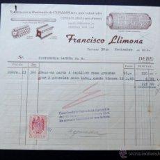 Faturas antigas: FACTURA / CONSTRUCCION - REPARACION CEPILLOS / FRANCISCO LLIMONA / TARRASA - TERRASA 1951. Lote 54105685