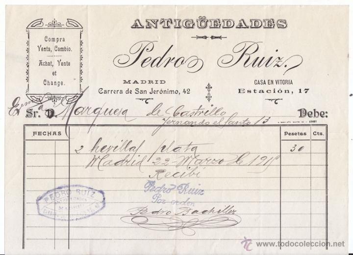 FACTURA ANTIGUEDADES PEDRO RUIZ. MADRID 1915 (Coleccionismo - Documentos - Facturas Antiguas)