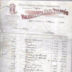 Facturas antiguas: FACTURA. DROGAS, PRODUCTOS QUÍMICOS Y FARMACEUTICOS. VALENTIN DEL HOYO VALDEÓN. ASTORGA, 1943. Lote 54312877