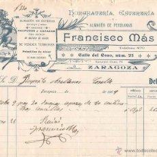 Facturas antiguas: AÑO 1909- ZARAGOZA- FRANCISCO MÁS- HORCHATERÍA, ESTERERÍA Y ALMACÉN DE PERSIANAS. Lote 54482152