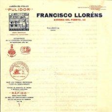 Factures anciennes: VALENCIA - FRANCISCO LLORÉNS JABÓN EN POLVO PULIDOR - AVENIDA DEL PUERTO 43 - AÑO 1929. Lote 116205523