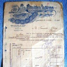Facturas antiguas: FACTURA DE LA PRIMITIVA INDIANA, GIJON, ASTURIAS, 1932. GRAN FABRICA DE CHOCOLATES, CAFES Y TES.. Lote 54947040