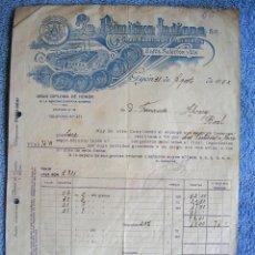Facturas antiguas: FACTURA DE LA PRIMITIVA INDIANA, GIJON, ASTURIAS, 1932. GRAN FABRICA DE CHOCOLATES, CAFES Y TES.. Lote 54947364