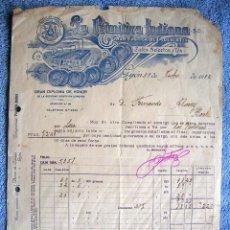Facturas antiguas: FACTURA DE LA PRIMITIVA INDIANA, GIJON, ASTURIAS, 1932. GRAN FABRICA DE CHOCOLATES, CAFES Y TES.. Lote 54947474