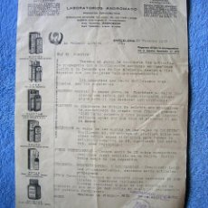 Facturas antiguas: FACTURA DE- LABORATORIOS ANDROMACO, PRODUCTOS FARMACEUTICOS - BARCELONA AÑO 1933.. Lote 54947672