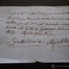 Facturas antiguas: PAGO O RECIBO, CATARROJA, VALENCIA, 1830. Lote 55018577