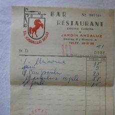 Facturas antiguas: FACTURA RESTAURANTE CABALLO ROJO CÓRDOBA AÑO 1967. Lote 55052686