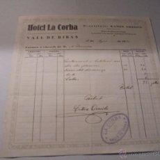 Faturas antigas: VALL DE RIBAS - LA CORBA , ANTIGUA FACTURA 1923 HOTEL LA CORBA . PROPIETARI RAMON ORRIOLS 20,5X21,5 . Lote 55082211