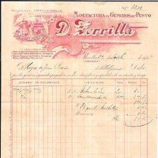 Factures anciennes: FACTURA. MANUFACTURA DE GÉNEROS DE PUNTO. D. ZORRILLA. MAELLA, ZARAGOZA. 1924.. Lote 55166803