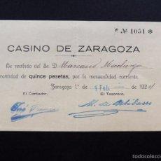 Alte Rechnungen - CASINO DE ZARAGOZA / RECIBO MENSUALIDAD / ZARAGOZA 1924 - 55893669