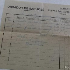 Facturas antiguas: OBRADOR DE SAN JOSÉ CUEVAS DEL ALMANZORA ALMERIA 1966. Lote 55995315