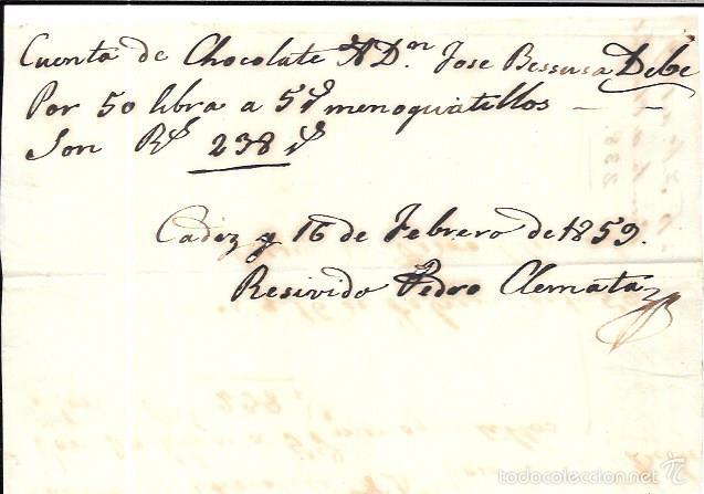 FACTURA DE CHOCOLATE. CADIZ. FEBRERO DE 1859. (Coleccionismo - Documentos - Facturas Antiguas)