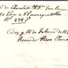Facturas antiguas: FACTURA DE CHOCOLATE. CADIZ. FEBRERO DE 1859.. Lote 56094647