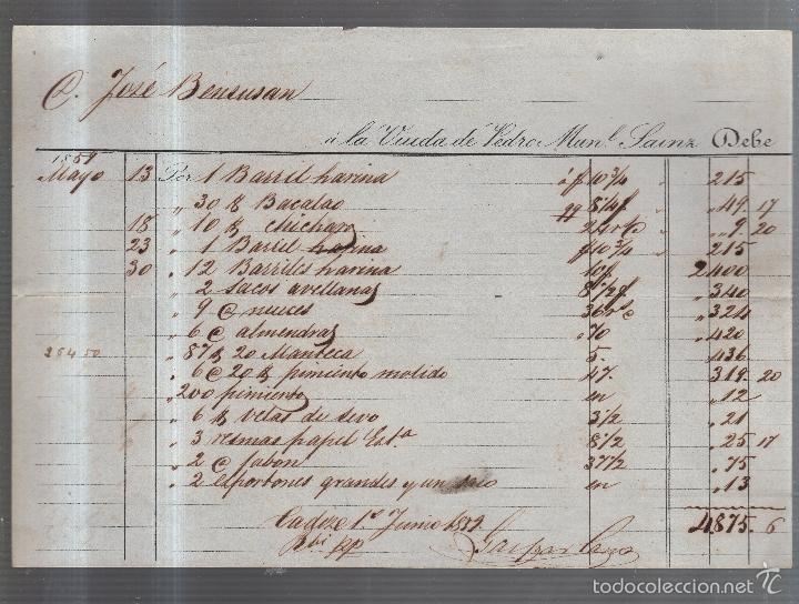 FACTURA DE ALIMENTACION. VIUDA DE PEDRO MANUEL SAINZ. CADIZ. 1859 (Coleccionismo - Documentos - Facturas Antiguas)