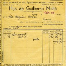 Fatture antiche: FACTURA DE HIJO DE GUILLERMO MOLTÓ (FABRICA DE ALCOHOL DE VINO, AGUARDIENTES ETC EN CASTELLON. Lote 56262488