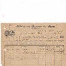 Facturas antiguas: FACTURA. FABRICA DE GENEROS DE PUNTO, VALLS, 1919.. Lote 56294712