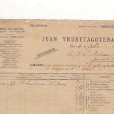 Facturas antiguas: FACTURA. JUAN YRURETAGOYENA, AGENCIA DE ADUANAS, YRUN, 1906.. Lote 56306504