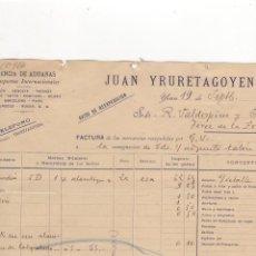Facturas antiguas: FACTURA. JUAN YRURETAGOYENA, AGENCIA DE ADUANAS, YRUN, 1906.. Lote 56306510