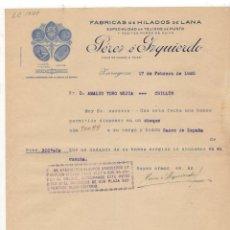Factures anciennes: FACTURA. PEREZ E IZQUIERDO, FABRICAS DE HILADOS DE LANA, ZARAGOZA, 1920.. Lote 56524840