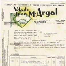 Facturas antiguas: VDA DE M. ARGAL - 1945 - PAMPLONA - FABRICA DE EMBUTIDOS - CON SELLO DIPUTACION FORAL NAVARRA. Lote 56598035