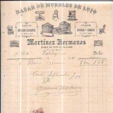 Facturas antiguas: FACTURA. BAZAR DE MUEBLES DE LUJO. MARTÍNEZ HERMANOS. CADIZ. 1897. Lote 56610576