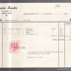 Facturas antiguas: FACTURA. FAUSTO SANCHO. BARCELONA. 1944. Lote 56687915