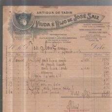 Facturas antiguas: FACTURA. ANTIGUA DE TADIN. VIUDA E HIJOS DE JOSE SANZ. HERRAMIENTAS Y FERRETERIA. SAN FERNANDO, 1920. Lote 56688232