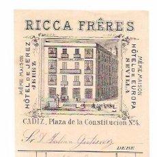 Facturas antiguas: FACTURA. RICCA FRÊRES. PLAZA DE LA CONSTITUCIÓN, Nº4. CADIZ. 1885.. Lote 56932262