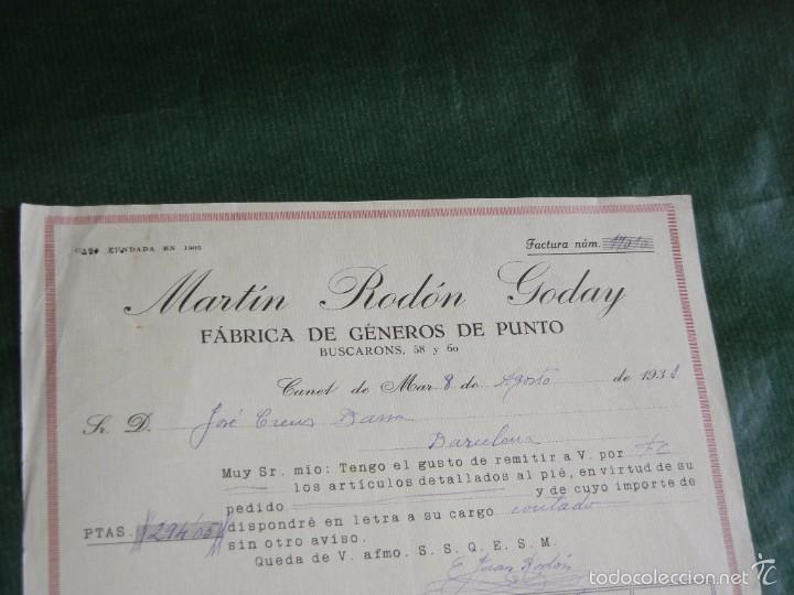 FACTURA FAB.GENEROS DE PUNTO MARTIN RODON GODAY, CANET DE MAR 1931 (Coleccionismo - Documentos - Facturas Antiguas)