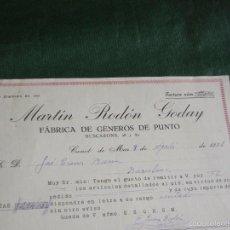 Facturas antiguas: FACTURA FAB.GENEROS DE PUNTO MARTIN RODON GODAY, CANET DE MAR 1931. Lote 56941583