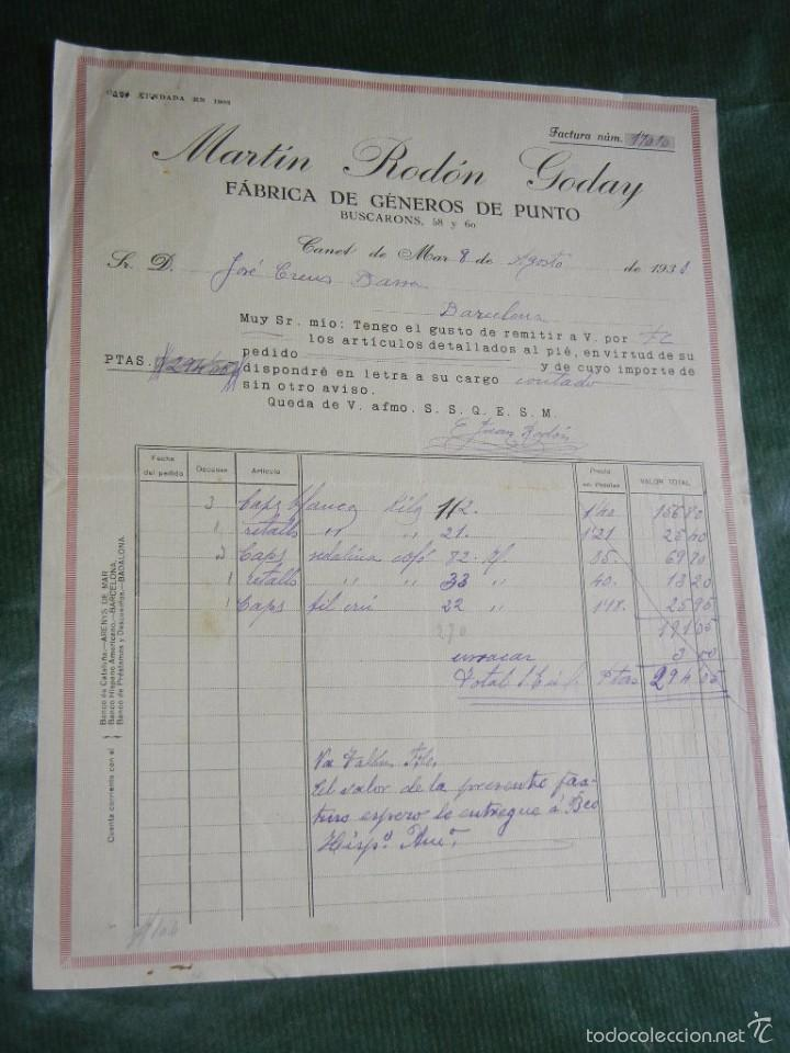 Facturas antiguas: FACTURA FAB.GENEROS DE PUNTO MARTIN RODON GODAY, CANET DE MAR 1931 - Foto 2 - 56941583