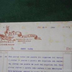 Facturas antiguas: FACTURA PERE PASCUAL, PINTURA Y DECORACIO, BARCELONA, 1931. Lote 56954366