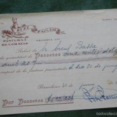 Facturas antiguas: RECIBO PERE PASCUAL, PINTURA Y DECORACIO, BARCELONA, 1931. Lote 56954412