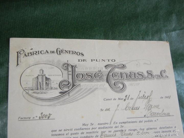 FACTURA FABRICA GENEROS DE PUNTO JOSE TENAS, CANET DE MAR, 1931 (Coleccionismo - Documentos - Facturas Antiguas)